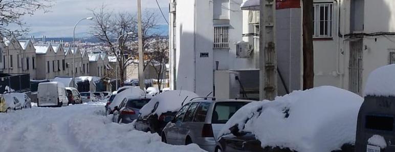 Nive en una de las calles de Madrid